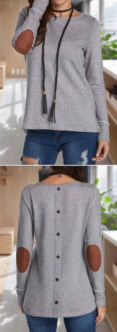 Patchwork Long Sleeve Grey T Shirt. I am loving the backwards sweater Fall Outfits, Casual Outfits, Cute Outfits, Fashion Outfits, Womens Fashion, Dress Fashion, Fashion Clothes, Fashion Ideas, Denham Jeans