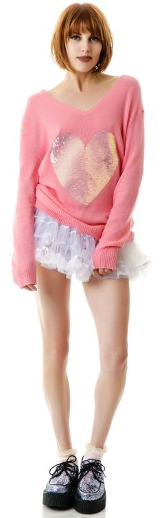 Wildfox Couture Brigette's Heart V Neck Sweater | Sweet and Sparkly!