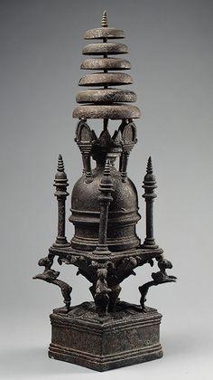 Model of a stupa (Buddhist shrine), ca. 4th century. Pakistan, ancient region of Gandhara. Bronze