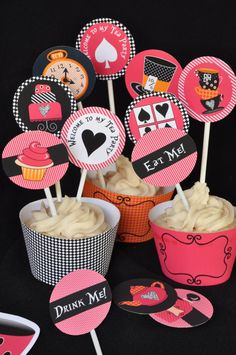 Alice in Wonderland & Mad Hatter inspired Tea Party cupcake toppers and wrappers / favor tags INSTANT DOWNLOAD