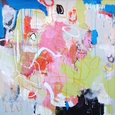 """done in 9ine. mixed media, canvas. with acrylic, oilstick, graphite. 48x48"""""""