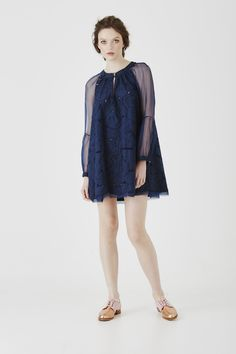 'there we were' tunic dress in navy cutwork lace with silk organza sleeves #nevenka #madeinmelbourne #lace #australian #designer #navy #natural #fibres #ethical #sustainable #dress #cotton #silk #organza