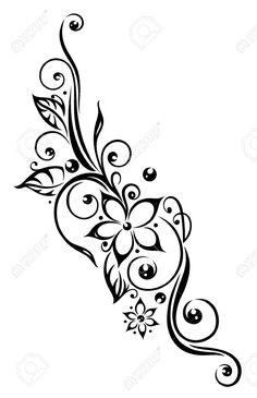 Black flowers illustration, tribal tattoo style