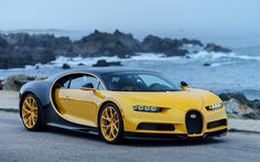 Download wallpapers Bugatti Chiron, 2017, Hypercar, yellow Chiron, supercar, Bugatti