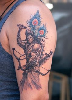 Warrior Lord Krishna Tattoo by Sunny Bhanushali at Aliens Tattoo, Mumbai. Hindu Tattoos, God Tattoos, Life Tattoos, Body Art Tattoos, Tatoos, Family Tattoos, Forearm Tattoos, Ganesha Tattoo Lotus, Krishna Tattoo