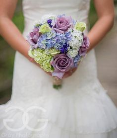 Garden Wedding Bouquet Lavender Rose Hydrangea Shabby Chic Wedding Bouquet with Burlap. $150.00, via Etsy.
