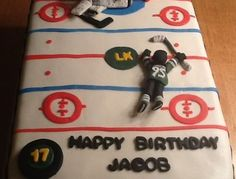 Hockey themed birthday cake celebrating his first Ontario Hockey League goal as a London Knight.