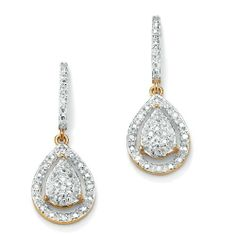 1/8 TCW Round Diamond 18k Yellow Gold over Sterling Silver Pear-Shaped Drop Earrings Palm Beach Jewelry. $79.99