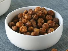 Spiced Baked Chick Peas    1 can (15 oz) Progresso® chick peas (garbanzo beans), drained, rinsed  1 tablespoon olive oil  1 teaspoon ground cumin  1 teaspoon paprika  Dash ground red pepper (cayenne)  Salt to taste  oven @ 350 F