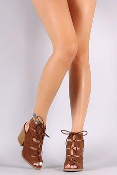 Qupid Nubuck Slit Cutout Lace Up Chunky Heel