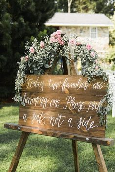 Rustic Wedding Seating Sign, Pick a Seat Not a Side Sign, Rustic Wedding Decor, … wedding – Outdoor Wedding Decorations 2019 Rustic Wedding Seating, Wooden Wedding Signs, Chalkboard Wedding, Wedding Signage, Ceremony Decorations, Wedding Centerpieces, Pick A Seat, Garden Wedding, Wedding Flowers