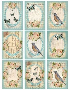 Blue Romantic card label roses birds butterflies