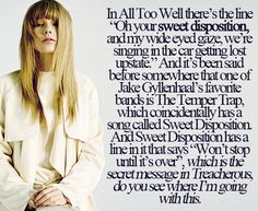 All Too Well... yet another example of the brilliant songwriter Taylor is. I LOVE SWEET DISPOSITION TOO JAKE.