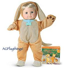 """Want: 2006 Puppy Outfit & Book $24 BTOD  This costume is """"ruff"""" and ready for play. Plush golden outfit has pad designs on the paws, and easy-adjusting collar features a tag in the shape of a dogbone. Get ready for the season with activities and parenting tips in the Bitty Twins' Halloween book that's included.  Released Summer 2006"""