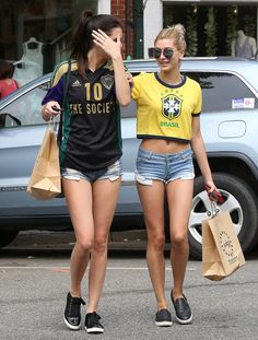 Lovely Kendall Jenner & Hailey Baldwin - showing their gorgeous legs together in short denim shorts.