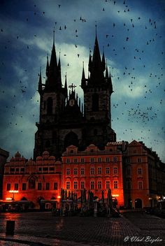 Spires at Dusk, Prague, Czech Republic. I've been here in the winter! Absolutely breath taking!