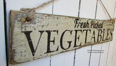 FRESH PICKED VEGETABLES Handpainted Sign on by TheFunkiLittleFrog, $25.00 #thefunkilittlefrog