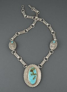 Reversible Silver, Turquoise & Coral Necklace by Anthony Lovato (Santo Domingo)
