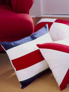 Pillows in the colors of the flag, coastal living