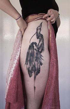 Lee Stewart bird crane tattoo