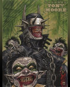 The Batman Who Laughs by Tony Moore Joker Batman, Batman Metal, Batman Dark, Joker Art, Batman The Dark Knight, Batman Robin, Joker Comic, Gotham Batman, Comic Book Characters