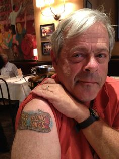 The creator of Off-Broadway hit Old Jews Telling Jokes is sporting a new, baseball-sized tattoo featuring the pastrami-sandwich-shaped logo of his show. tattoo judaica, tattoo featur, joke, pastramisandwichshap logo, new tattoos