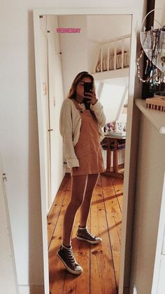 corduroy overall dress outfit spring Mode Outfits, Trendy Outfits, Fashion Outfits, Womens Fashion, Dress Fashion, Ladies Fashion, School Outfits, Vintage Hipster Outfits, School Ootd