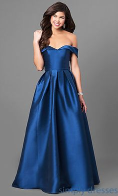 Shop off-the-shoulder long prom dresses at Simply Dresses. Long satin formal dresses under $200 with pleated a-line skirts and fold-over collars.