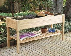 Cedar Raised Garden CenterAs seen on the Martha Stewart Show. This beautiful 2 x 6 self-contained large garden planter can be used to start seedlings, or to grow organic vegetables and flowers on patios, balconies and restricted spaces. This garden planter is easy to tend while standing or sitting. read more