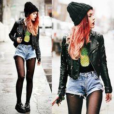 Pineapple Express, leather jacket, denim shorts, creepers, pineapple shirt