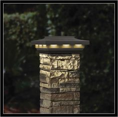 Solar Stone Post Cover Post Cap by Deckorators – front yard fence ideas Outdoor Pillar Lights, Outdoor Post Lights, Outdoor Lighting, Driveway Lighting, Driveway Entrance, Solar Driveway Lights, Solar Outside Lights, Driveway Fence, Brick Columns