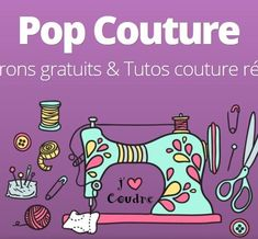 Aujourd'hui j'ai envie de vous présenter un site internet que j'ai énormément. Today I want to present you a website that I visited a lot when I started to sew: it is Pop couture. I discovered it fr Sewing Patterns Free, Free Sewing, Sewing Tutorials, Sewing Projects, Dress Tutorials, Dress Patterns, Pop Couture, Couture Sewing, Bib Pattern