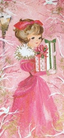 Vintage Christmas Card ~ Think Pink Shabby Chic Christmas, Old Fashioned Christmas, Christmas Past, Christmas Greetings, Christmas Mantles, Christmas Postcards, Christmas Decor, Christmas Ornaments, Vintage Christmas Images