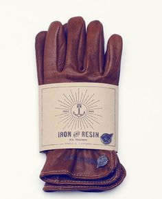 Iron and Resin tan leather gloves
