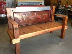 benches+made+from+truck+tail+gate++ | tailgate porch bench. Frame made from treated lumber and the rest made ...