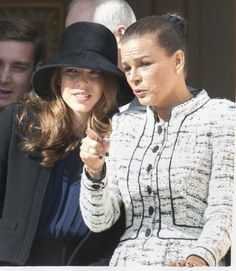Princess Stephanie of Monaco and Charlotte Casiraghi at the balcony of Monaco Palace during the National Day Parade on 19 Nov 2012