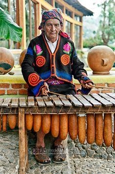 Don Esteban and his marimba.  Photo by Guatemalan photographer Maynor Mijangos