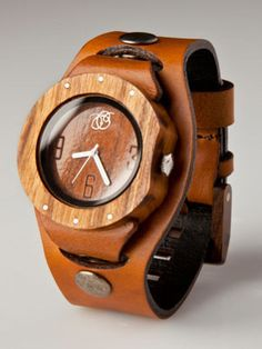 Leather and Wooden Watch - Traditional gift for 5th wedding anniversary is wood, for 3rd - leather.