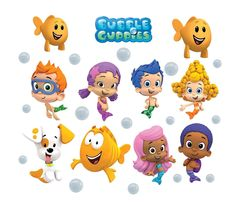 Perfect BUBBLE GUPPIES 10 CHARACTERS + LOGO Decal Removable WALL STICKER Home Decor  Art