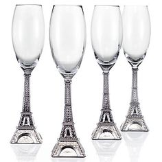 "Is there such a thing as ""so tacky it's fabulous?"" Because I think these Eiffel Tower champagne flutes fit the bill."