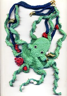 Octopus crochet and beaded necklace