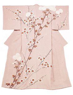 """""""chrysanthemum and plum""""蒔糊Yuzen by national treasure MORIGUCHI Kunihiko"""
