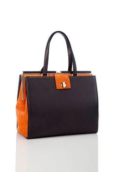 Style.com Accessories Index : fall 2012 : Giorgio Armani | black and orange tote