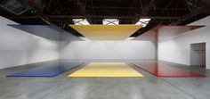 , 2006. Linear polyurethane paint on 6 aircraft honeycomb aluminum rectangles, overall installed:  10-1/2 x 54 x 22;  aluminum rectangles:  16 x 22 each.
