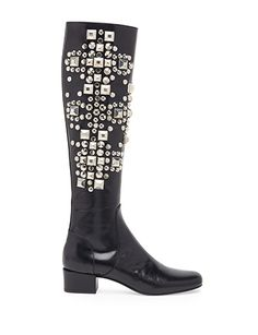 SAINT LAURENT Studded Leather Knee High Boots