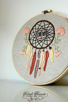 Dreamcatcher . Hand Embroidery Wall Art . 8 inch Hoop . Wall Decoration . Nursery Decoration