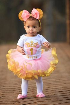First 1st Birthday Minnie mouse with gold glitter by TulleVogue