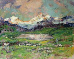 Andrea Tavernier (Italian, 1858-1932), Paesaggio. Oil on canvas, 53 x 63 cm.