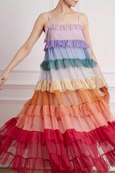 New Season Chakra Ruffle Sun Dress in Rainbow. Shop the Jasmine Hemsley Collection now. Look Fashion, Womens Fashion, Fashion Design, Petite Fashion, Curvy Fashion, Fall Fashion, Rainbow Fashion, Mode Inspiration, Ruffle Dress