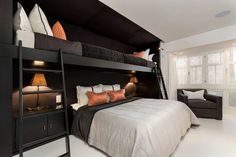 Puente Romano is a contemporary single family residence located in Marbella, Spain. It was designed by Patricia Darch Interiors. Bunk Bed Rooms, Bunk Beds Built In, Queen Bunk Beds, Girls Bunk Beds, Adult Bunk Beds, Bunk Bed Designs, Kids Bedroom Designs, Home Bedroom, Bedroom Decor